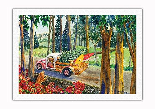 Pacifica Island Art - Hochlandfracht - Hawaiianischer Pick-up Truck mit Surfbrettern, Hunden und Weihnachtsbaum - Hawaii Aquarell Malerei von Peggy Chun - Leinwand Kunstdruck - 69 x 102 cm