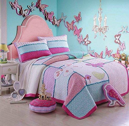 Unimall 3731499 Tagesdecke Pachwork Mädchen Bettüberwurf Baumwolle Kinder Einzelbett gesteppt Sommerdecke 170x220 cm plus 1 x Kissenbezug