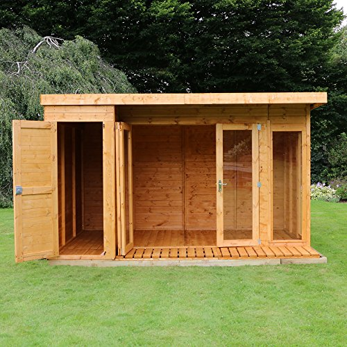 12x8 t g wooden contemporary summerhouse with side storage for Side storage shed