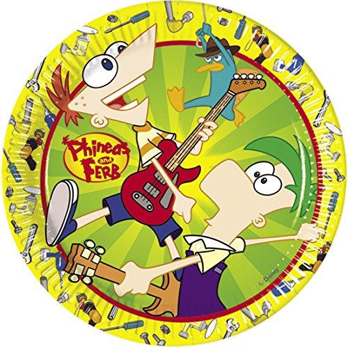 Disney Amscan 23cm Phineas und Ferb 10-Paper Teller (Y Ferb Halloween Phineas)