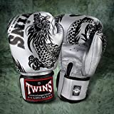 Twins special Black-Silver Flying Dragon Muay Thai Boxing Boxing Gloves - FBGV-4