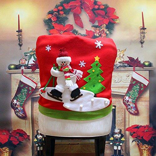 Weihnachtsmann Stuhlabdeckung Stuhlschutzabdeckung Schonbezug Weihnachtsstuhl Abdeckung Abnehmbare Stuhlabdeckung für Esszimmer Hochzeitsbankett PartyTable Weihnachten Esstisch Dekoration (B) -