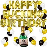 Conjunto de Decoraciones y Artículos Divertidos para Fiesta de Cumpleaños de Adultos con Globos Dorados y Botella de Champagne Hinchable – 21, 30, 40, 50 Años