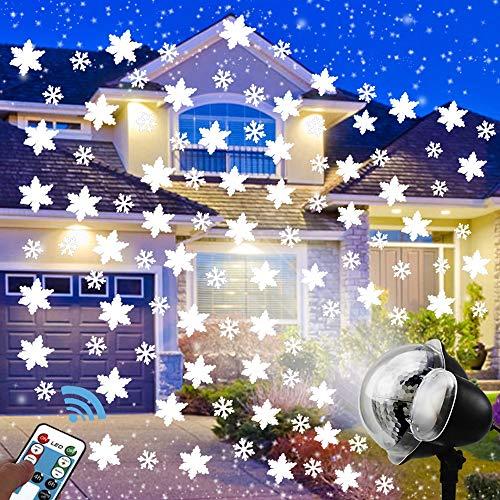 FFDCC LED Projektionslampe Schneefall-Lichteffekt Stimmungsbeleuchtung Disco Licht Party Licht IP65 5W mit Fernbedienung LED Weihnachten Dekoration für Weihnachten Thanksgiving Garten Party Halloween