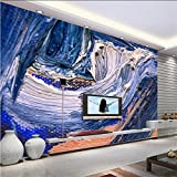 Kuamai Custom 3D Murals Abstract Oil Painting Waves Embossed Wall Paper for Kids Room Thicken Tv Background Restaurant Study Bedroom-350X250Cm