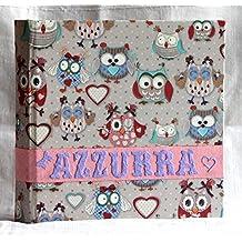 Album fotografico 23x23 bambini personalizzabile con nome carta gufi 30 pagine per 60 foto artigianale Battesimo nascita
