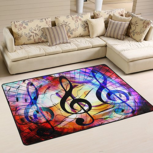 Naanle Musik Note Galaxy Space, Rutschfeste Bereich Teppich für Dinning Wohnzimmer Schlafzimmer Küche, 50x 80cm (7x 2,6m) mit Kinderzimmer-Teppich, Teppich Yoga-Matte, Multi, 60 x 90 cm(2' x 3')