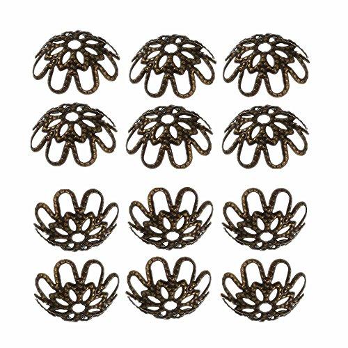 Fournitures pour bijouterie 11 mm 20 Haute Perlkappen dans vintage bronze