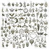 100 unidades de colgantes de plata envejecida para manualidades, joyería, accesorios para hacer manualidades, collares y pulseras hechas a mano