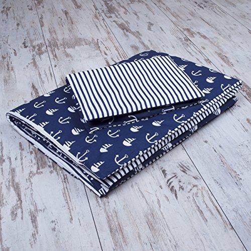 Amilian® Baby Bettwäsche Design: Anker GROß blau Größe 100×135 cm (40×60 cm) Bettset Kinderbettwäsche