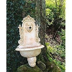 Antikas - Wandbrunnen mediterran Löwe, Wasserbecken Italienisch, Gartenbrunnen Zapfstelle