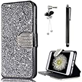 Coque Samsung Galaxy S7 Edge Sunroyal Premium Vintage Collection Cuir PU Etui Housse Case Cristal Sparkle Glitter Strass Cover avec Support Multi-Angles Bumper Flip Cover Bookstyle Support Cartes Slots Ultra Mince Léger Fermeture Aimantée Étui pour Samsung Galaxy S7 Edge SM-G935 (5,5 pouces) Coque avec Particules Diamant Rhinestone Support rotatif 360° Wallet Phone Coque Purse + 1x Strass Glitter Crystal Diamant Anti Dust Plug + 1 x Stylet touch pen - Bling Strass Argent