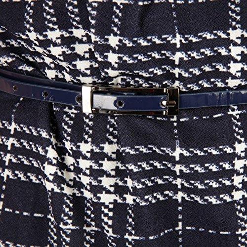 La Modeuse - Robe style rétro à carreaux bleu et blanc Multicolore