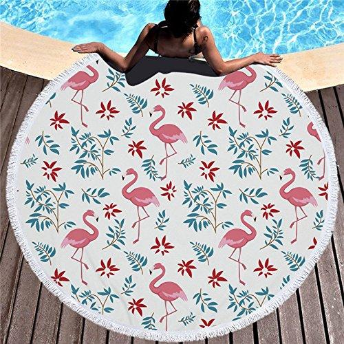 feelum Neueste Style Fashion Flamingo 450g Rund Strandtuch mit Quasten Mikrofaser Seaside holiday150cm Picknickdecke 450g/500g Travel Zubehör A5