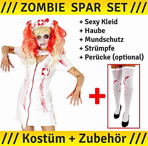 Foxxeo 40082   blutiges Zombie Krankenschwester Kostüm für Damen mit Perücke, Mundschutz, blutigen Strümpfen, Schwestern Haube, Größe:L (Blutige Krankenschwester Kostüm)