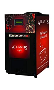 ATLANTIS 2 Lane Tea and Coffee Metal Mini Vending Machine with New Door (Black & Dark Red) & Laptop Backpack