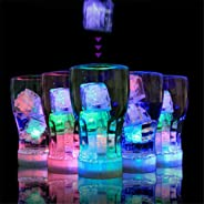 12PCS Water Flashing Submersible Light Up LED Simulated Ice Cube Glow Light Color Changing Party Luminous for Party Wedding Bar Club Drinks Wine Whiskey