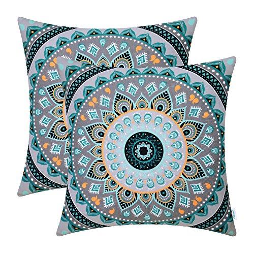 CaliTime Packung mit 2 weiche Leinwand Wurfkissenbezüge Fälle für Couch Sofa Home Decor Retro Mandala Muster Kompass Medaillon 18 X 18 Zoll