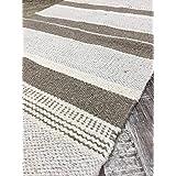 Pequeño, algodón natural y yute gris blanco Multi de rayas alfombra 60cm x 90cm