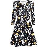 1f2cc5462baee KUDICO Kleid Damen Halloween Druck Langarm Casual Kleider Blusen Kleider  Abend Party Prom Dress Blusenkleid