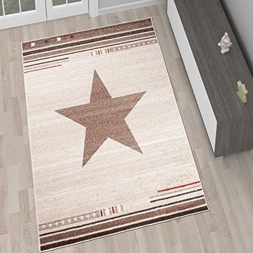 Tapiso Alfombra De Salón Moderna Colección Marroquí – Color Beige Crema De Diseño Estrella Star – Mejor Calidad – Diferentes Dimensiones S-XXXL S-XXXL 140 x 190 cm