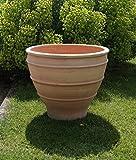 Kreta-Keramik terracotta Pflanzgefäß, 70 cm, handgemacht und frostfest, Blumenkübel für Garten Terrasse Balkon Deko, Buxus
