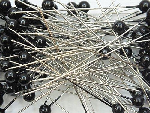 Perkopf- Decon. 4 mmØ x 40mm 150 Stück Perlen-Nadeln Deko-Nadeln Perle (schwarz) (Nadeln Schwarze)