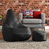 Hi-BagZ Outdoor High Back Bean Bag Chair and Matching Footstool Combo - Black - Water Resistant, Weather Proof Garden or Indoor Gamer Bean Bags