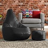 immagine prodotto Hi-BagZ® - Set combinato comprensivo di pouf con schienale alto e poggiapiedi abbinato, di facile manutenzione, colore: nero