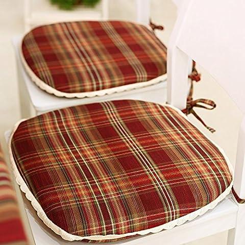 CLG-FLY estudiantes estadounidenses de silla rural almohadilla tapizados cojín acolchado lavable cojín de tela de algodón a cuadros (a),45*43cm,(duro) de algodón rojo oscuro
