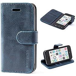 Mulbess Coque iPhone 5C, Étui Coque en Cuir pour iPhone 5C [Housse Pochette Portefeuille avec La Fonction Stand] Navy Bleu