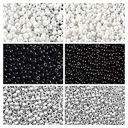 6x20 Gramm Tschechische Runde Glasperlen, Rocailles 9/0 und 11/0, DREI Farben. Set 3CSB 016 (9SB015 9SB001 9SB106 11SB059 11SB049 11SB090) -
