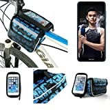 Bike frame bag Front Top Tube Pannier for Huawei Honor 7X, Head Tube cycling triple case Bicycle mount cradle Mobile Phone Holder, blue, water resistant - K-S-Trade(TM)