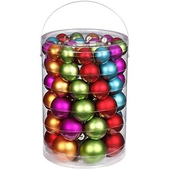 Inge-glas 1558E460 Palle di Natale Mille Fiori, 60 pezzi, colori assortiti, 4/5/6/7 cm