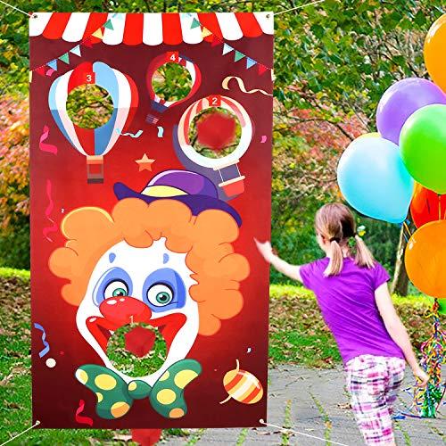 Howaf Karneval Party Spiele wurfspiel für Kinder, Clown-Karneval hängend werfen Spiel mit 3 Sitzsäcken Draußen Indoor Wurfspiele für Kinder Karneval Geburtstag Party Dekoration