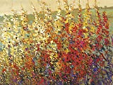 Artland Qualitätsbilder I Alu Dibond Bilder Alu Art 80 x 60 cm Botanik Blumenwiese Spachteltechnik Rot C2HY Feld mit Herbstblumen I