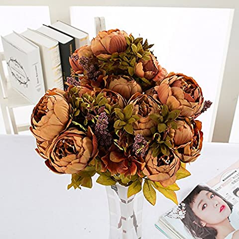 YSBER 1 * 2 Vintage Bouquet Fleurs Artificielles Pivoine En Soie Idéal pour mariage, mariage, fête, maison, bureau Décoration