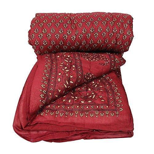 Bagru Crafts Jaipuri Gold Print Sanganeri Double Bed Rajai