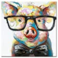 Fokenzary Hand Painted Cute Pig with Glasses Pop Wall Art Canvas Painting Framed Ready to Hang produced by Fokenzary - quick delivery from UK.
