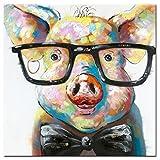 Fokenzary peinte ? la main mignon Cochon avec lunettes Pop Peinture sur toile encadr?e pr?te ? suspendre - 32x32in