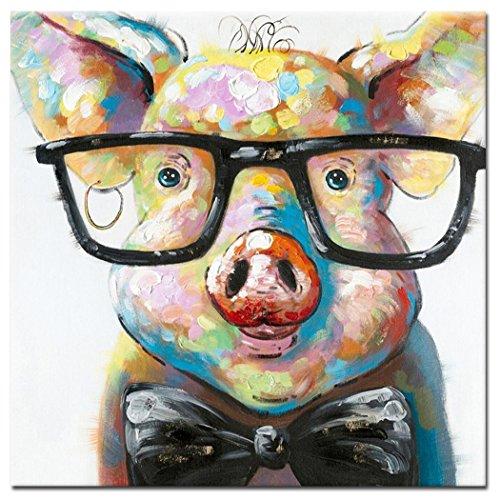 fokenzary handbemalt Cute Pig mit Brille Pop Art Wand Leinwand Gem?lde gerahmt fertig zum Aufh?ngen - 32x32in