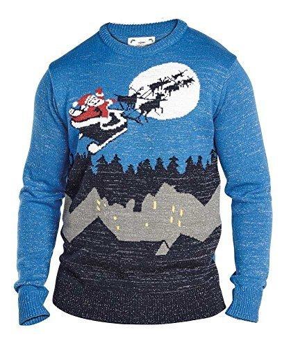 Duke Herren D555 Santa Auf Schlitten Big King-Size Weihnachts Pullover Santa auf Schlitten - Marineblau/Blau, 3XL (Big-und Pullover Tall-gerippter)