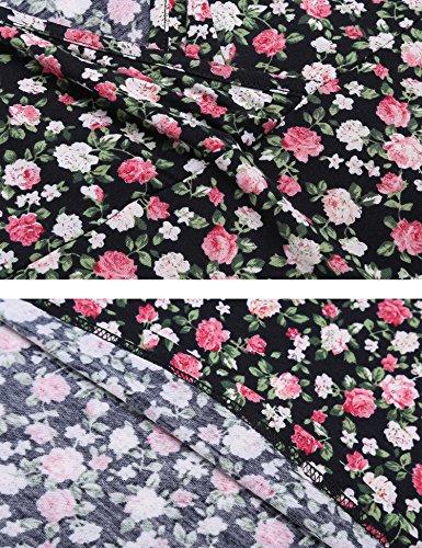 Beyove Damen Wickelkleid Sommerkleider Vintage Blumen Kleid V-Ausschnitt Partykleid Cocktailkleid A-Schwarz