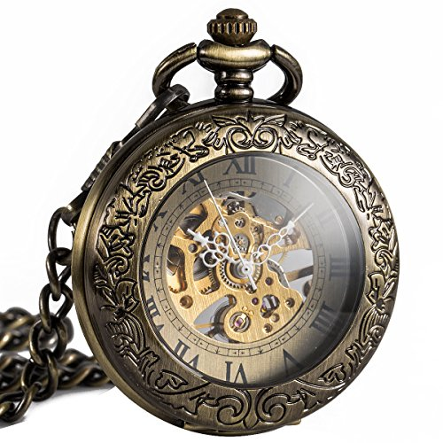 ManChDa-Retro-Pocket-Watch-for-Men-Women-Special-Magnifier-Half-Hunter-Elegant-Engraved-Case-Steampunk-Skeleton-Mechanical-Movement-With-Chain-Gift-Box
