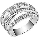 خاتم كاجوال من الفضة الإسترلينية عيار 925 بتصميم متشابك عريض متقاطع