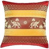 Avarada Kissenhülle, gestreift, Elefanten-Motiv mit Sonne, 40x40cm, Rot / Gelb