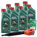 7x 1 L = 7 Liter Castrol Magnatec Diesel 5W-40 DPF Motor-Öl inkl. Ölwechsel-Anhänger und Einfülltrichter