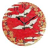 Domoko Home Decor Japan Crane Bird Cherry Ahorn Acryl, Rund Wanduhr Geräuschlos Silent Uhr Kunst für Wohnzimmer Küche Schlafzimmer