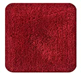 Natura Living Micro Shag Mat 100% Machine Washable, Soft And Anti Slip Bathmat. 60 X 60 cm (Maroon)