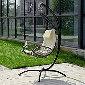 sobuy ogs26 mi fauteuil suspendu balancelle de jardin et patio hamac avec support sur pied et. Black Bedroom Furniture Sets. Home Design Ideas